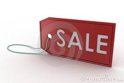 Red Sale Tag 3d rendering