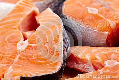 Red salmon slices