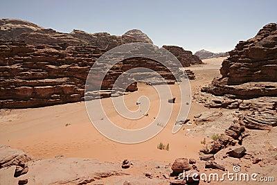 Red sand dune and desert landscape, Wadi Rum, Jordan