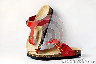 Red sandal.
