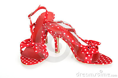 Red sandals in a pea