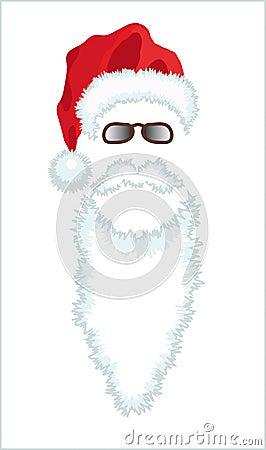 Red Santa Claus Hat, beard and glasses.
