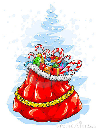 Red Santa Claus  sack with Christmas gifts