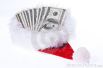 Red santa hat with dollars