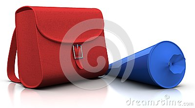 Red satchel and blue  schultuete