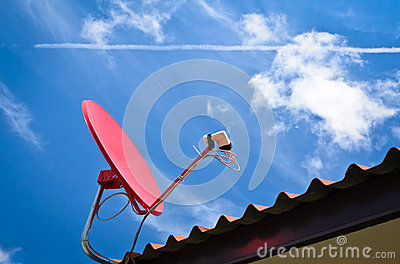 Red satellite and blue sky