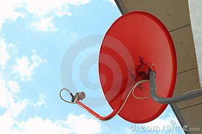 Red satellite dish