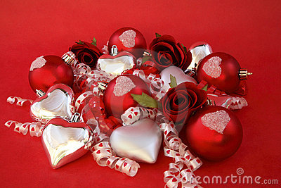 Red satin balls, silver hearts with roses and ribb