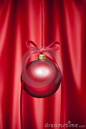 Red Satin Christmas Ornament Background