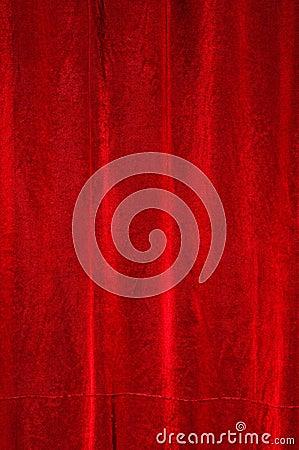 Red satin drapery