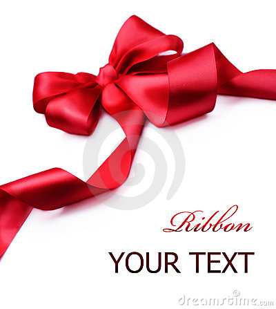 Red satin gift Bow.Ribbon