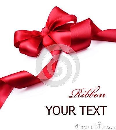 Red satin gift Bow.Ribbon