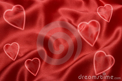 Red Satin Love Heart Background