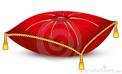Red satin pillow with gold tassels