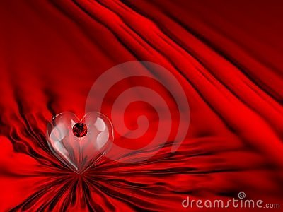 Red Satin Ruby Heart