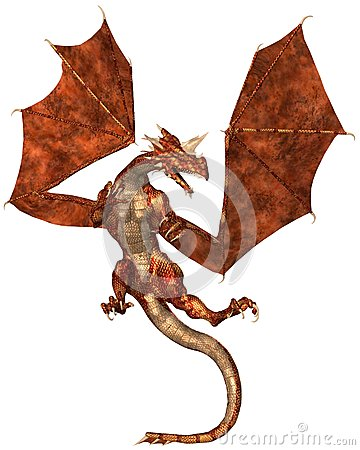 Red Scaled Dragon Attacking