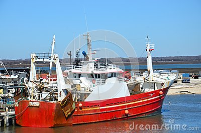 Red fishing boat or ship