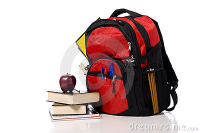 Red School Back Pack with books