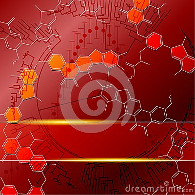 Red science background with transparencies