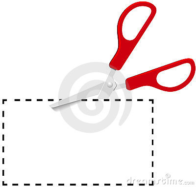Red scissors cut out coupon on dotted line