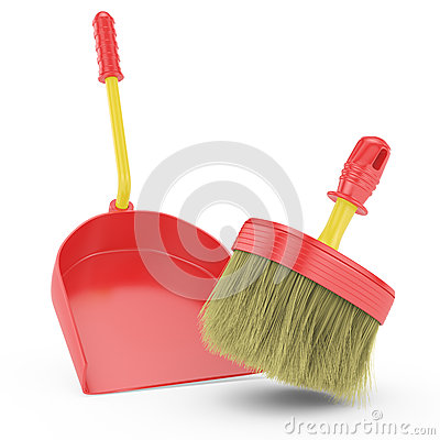 Red scoop and broom