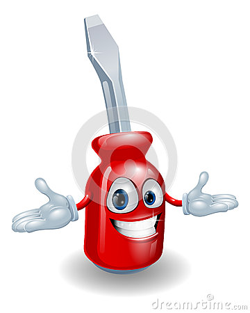 Red screwdriver mascot