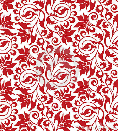 Free Red Seamless Flower Damask Pattern Royalty Free Stock Images - 13842759