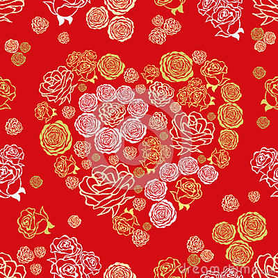 Red seamless pattern with flower hearts