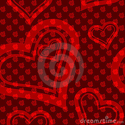 Red seamless rose-and-heart pattern