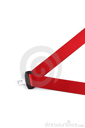 Red seat belt with a fastener