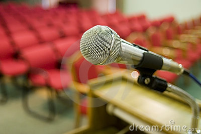 Red seats and microphone