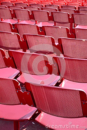 Red seats outdoors