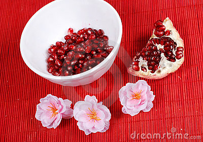 Red seeds and white bowl