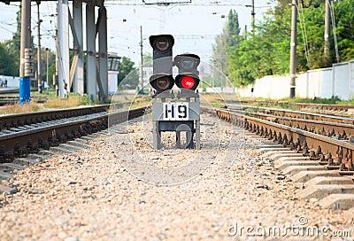Red semaphore on railway