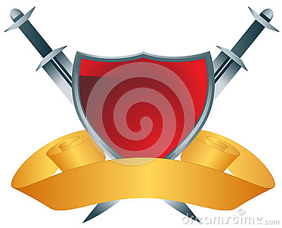 Red Shield with Swords