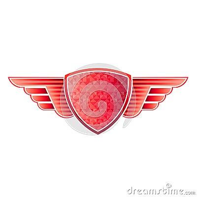 Red shield wings logo