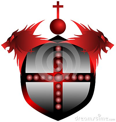 Free Red Shield With Lions And Cross Isolated Stock Photo - 40650070