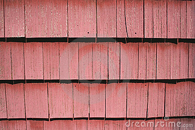 Red shingle siding