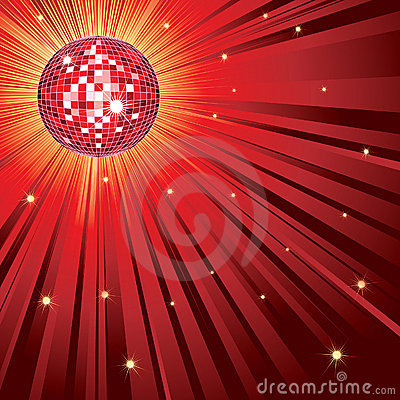 Red shining disco-ball