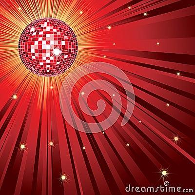 Red shining disco-ball