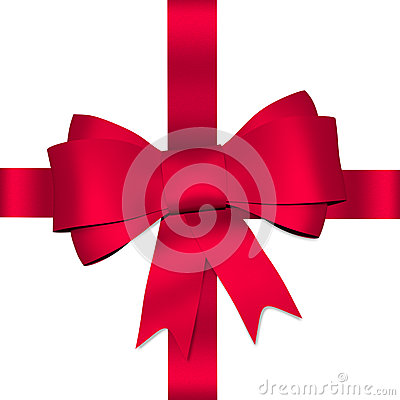 Red shiny bow with ribbon