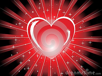 Red shiny heart with rays,  illustration