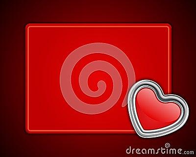 Red shiny heart shape on card