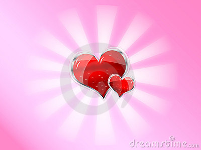 Red shiny vector heart for valentines day