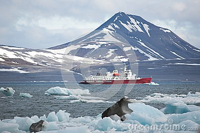 Red ship in the Arctic fjord