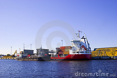 Red Ship in port