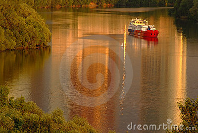 Red ship on the river