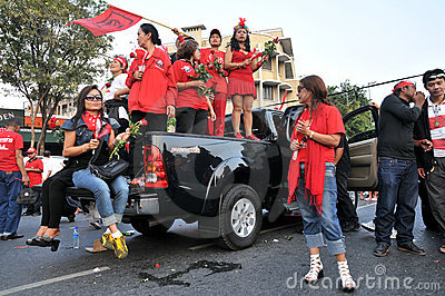 Red-Shirt Protest in Bangkok Editorial Photo