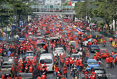 Red Shirt Protest - Bangkok Editorial Stock Photo