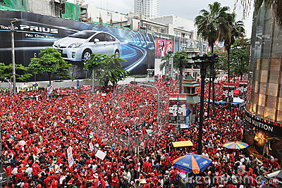 Red-Shirt Protest in Bangkok Editorial Stock Image